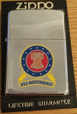 Zippo - Genuine 1990 Zippo - USS Independance - Chrome In Great Condition