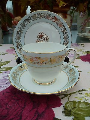 Pretty Vintage Adderley China Trio Tea Cup Saucer Plate Blue Gilded H 372