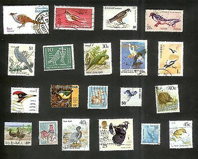 Birds On Stamps - 20 All Different