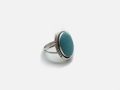 Native American Indian Ladies Silver Turquoise Ring – Navajo