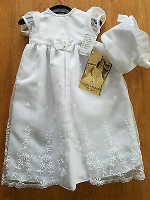 Girls White Christening Baptism Gown Dress & Bonnet Embroidered Sz 6/9M MSRP $77