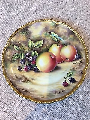 "Still Life Hand-Painted 10"" Plate by Ex Royal Worcester Artist David R Bowkett"