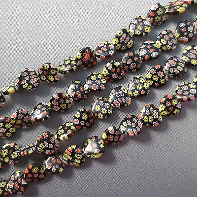 MILLEFIORI LAMPWORK GLASS BEADS BLACK HEART With Green Flower 12MM 15""