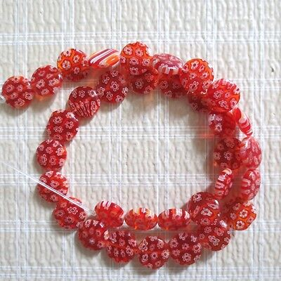 MILLEFIORI LAMPWORK GLASS BEADS RED COIN 12mm 15""