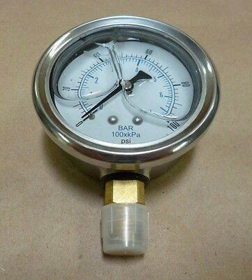 """Pic Gauge 201L-254E 2-1/2"""" Stainless Steel Glycerin 100Psi 1/4Npt Brass Connect"""