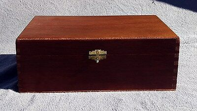Vintage Wood Box Cigar Humidor Dove Tail Joints Hand Made Removable Insert 12""
