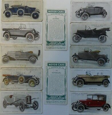 LAMBERT & BUTLER *MOTOR CARS, A Series* 1922, 12 cards *Good/Fair*