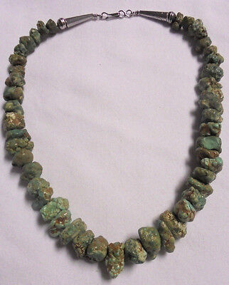 """Old Pawn Native Seafoam Turquoise Sterling Silver 925 Rock 16"""" Necklace 76 grams"""