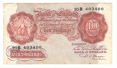 Banknote of england 10 shillings PS. Beale. 95B. Great condition.
