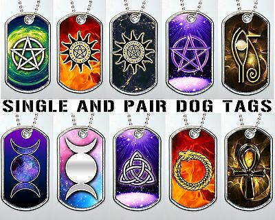 Spiritual Pagan Wicca Pentagram Egypt Dog Tag Military Keychain Necklace Metal