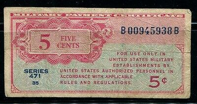 Paper Money US Military Certificate 5 cents Serie 471
