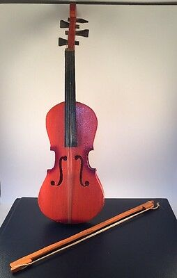 Vintage Folk Art Hand Carved Small Violin And Bow Handmade Musical Instrument