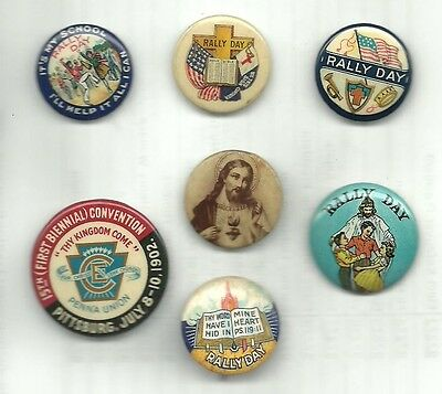 Fascinating Collection Of 7 Vintage Religious Related Pins Buttons