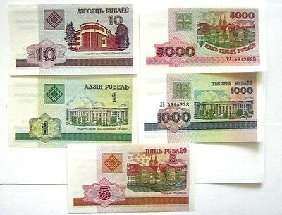 5 BANKNOTES BELARUS  1 to 5000 RUBLEI 1998//2000 ISSUE UNC COND.