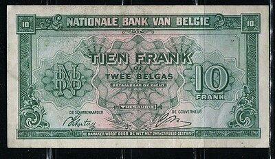 Paper Money Belgium 1943 10 francs,3 belgas