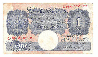 Banknote of england one pound KP Peppiatt C16H. very good condition.
