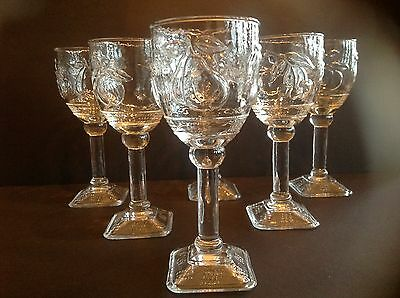 Six Pressed Glass Clear Goblets Square Footed w Pressed Fruits for Water/Wine