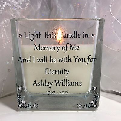 Personalised Memorial Candle For Loved One In Memory Remembrance Funeral