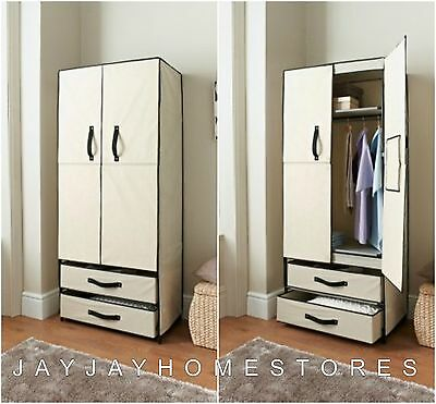 Double Canvas Wardrobe Cupboard Clothes Storage Shelves Box - Simple assembly