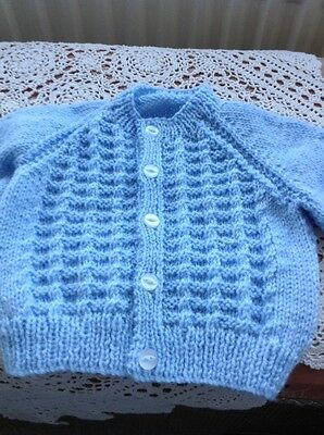 Brand New Hand Knitted Baby Boy Blue Cardigan age  0-6 months