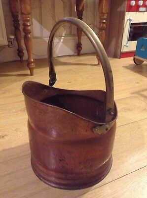 Vintage Copper Coal Scuttle With Brass Handle