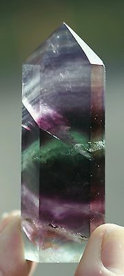 85g Beautiful Natural Multi-Colour Stripes FLUORITE Crystal Healing Point Wand