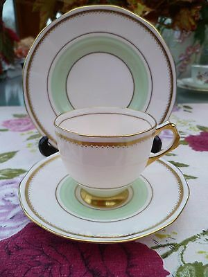 Lovely Vintage Tuscan English China Trio Tea Cup Saucer Pastel Pink Green 4707