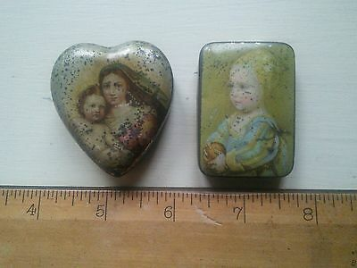 Antique collectable decorated small tins snuff pills?