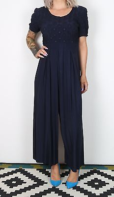 Jumpsuit UK 10 Small approx. 1980's Plain 80's All in one Navy   (8CJ)