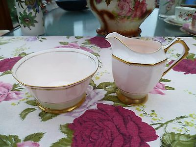Lovely Vintage Tuscan China Milk Jug & Sugar Bowl Pastel Pink Green 4707