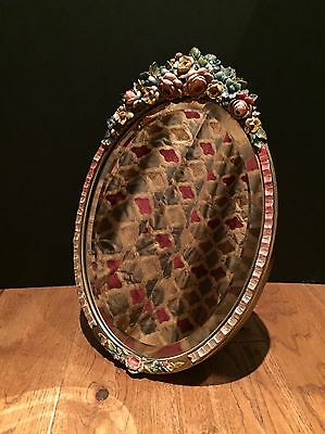 Vintage 1930's Barbola Bevelled Glass Wall Dressing Table Mirror Deco Antique