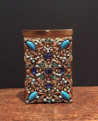 1950's Vintage Antique Highly Decorated Jewelled Cigarette Case Box Smoking