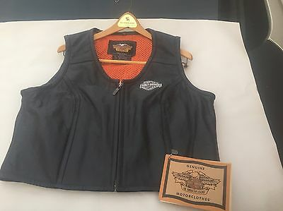 """Harley Davidson New """"Classic"""" Leather Embroidered Vest! Women's XL! 97191-01VW"""