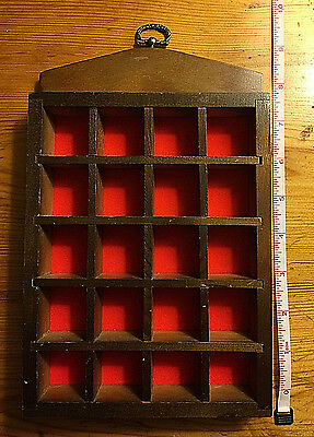 Wooden Thimble Display Rack Red Backdrop - Excellent