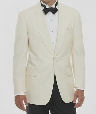 Men's - White Dinner Jacket One Button Shawl Tuxedo Coat - All Sizes