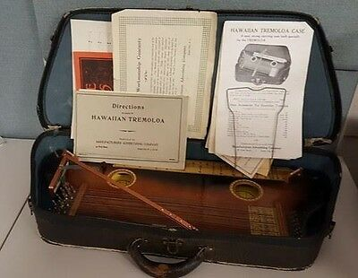 VTG RARE Late 40's Tremoloa 4850 Hawaiian Harp Zither Slide Guitar Case Manuals