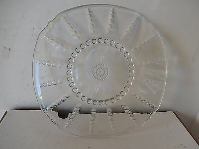 Glass Oyster and Pearl Serving Plate Depression Glass Crystal
