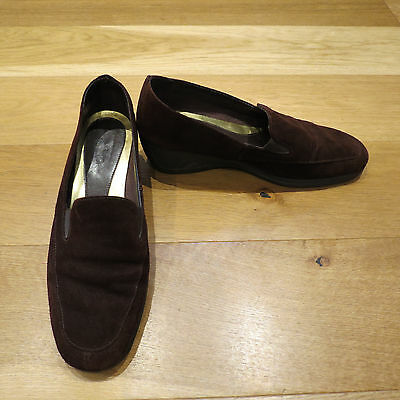 Ladies M&S Footglove chocolate brown suede low wedge slip on shoes size 7.5