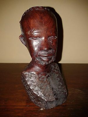 African Wooden Bust. Carved African Wooden Head