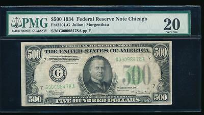 AC 1934 $500 FIVE HUNDRED DOLLAR BILL Chicago PMG 20