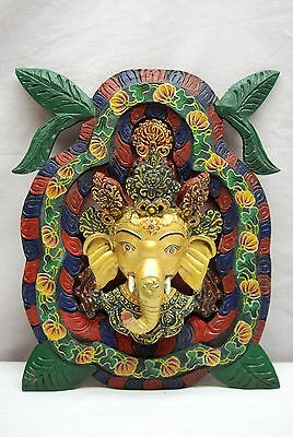 Ganesh Ohm Wall Hanging Carved Wood Painted