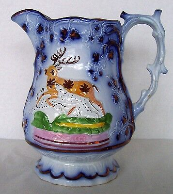 Antique Staffordshire Lustre Epsom Cup Stag & Hound Pottery Pitcher Luster Jug