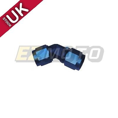 UK STOCK !! Fuel Fitting Adapter 45 Degree Female to Female AN Swivel 8AN Blue