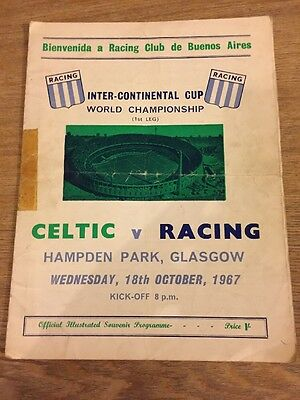 Football Match Programme Celtic V Racing 1967 Inter Continental Cup