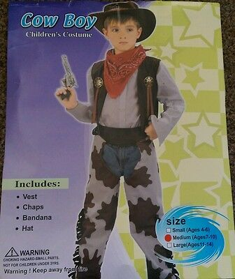 Boys cowboy fancy dress costume outfit size Medium ages 7-10 years