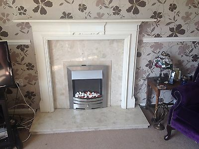 Fireplace Back Panel and hearth in Botticino Marble with surround -fire not incl