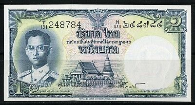 Paper Money Thailand 1 bath King Rama IX Siam