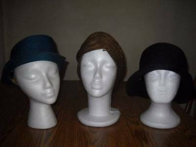 LOT OF 3 FRENCH STYLE VINTAGE 1920s FLAPPER SISAL CLOCHE HATS Original Lot#10
