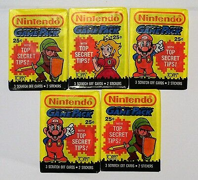 Lot Of 5 X Sealed Packs Nintendo Game Pack Topps Trading Cards (1989)