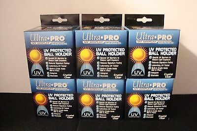 (6) Ultra Pro UV Protected Baseball Cube Holder Display Cases With Cradle - NEW